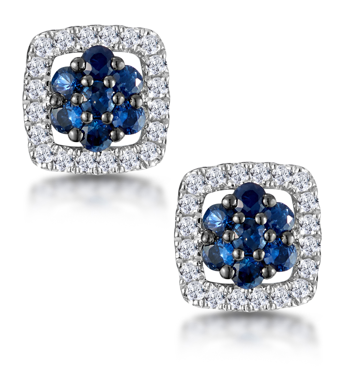 SAPPHIRE AND DIAMOND EARRINGS IN 9K WHITE GOLD - STELLATO COLLECTION