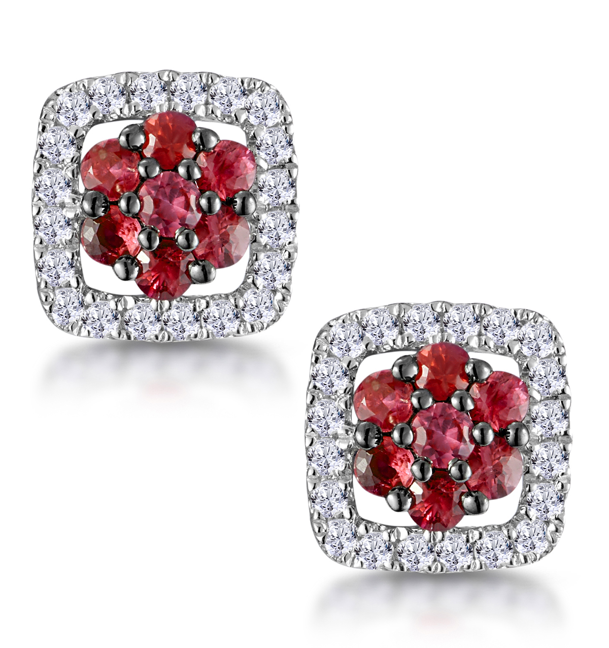 0.23CT RUBY AND DIAMOND STELLATO EARRINGS IN 9K WHITE GOLD
