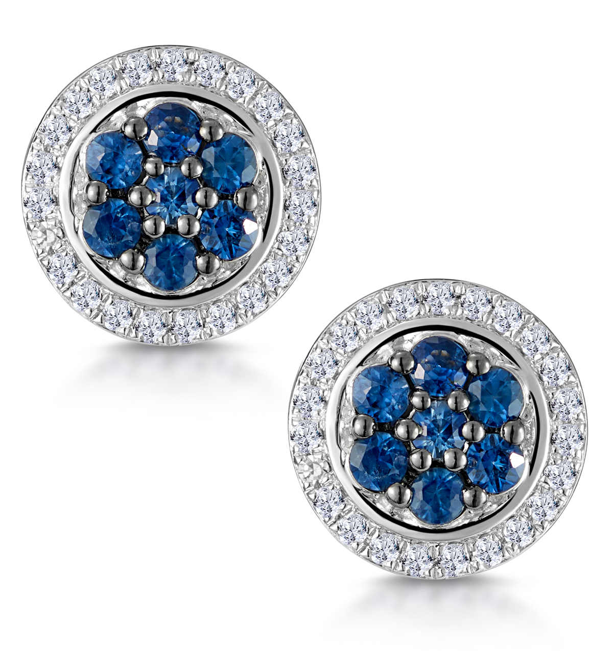 0.35CT SAPPHIRE AND DIAMOND STELLATO EARRINGS IN 9K WHITE GOLD