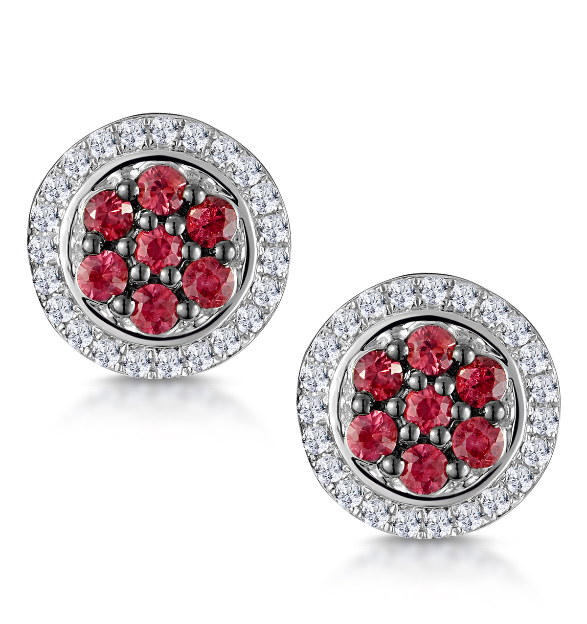 0.33CT RUBY AND DIAMOND STELLATO EARRINGS IN 9K WHITE GOLD