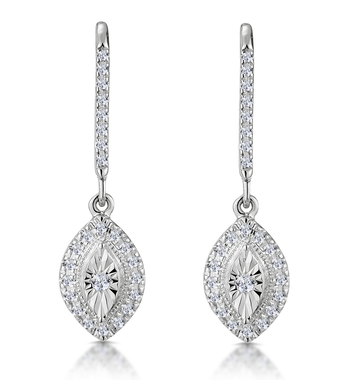 MASAMI DIAMOND MARQUISE EARRINGS 0.20CT PAVE SET IN 9K WHITE GOLD