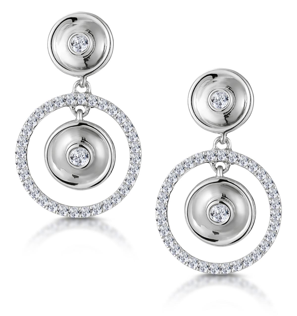 MASAMI DIAMOND HALO CIRCLES EARRINGS 0.33CT SET IN 9K WHITE GOLD