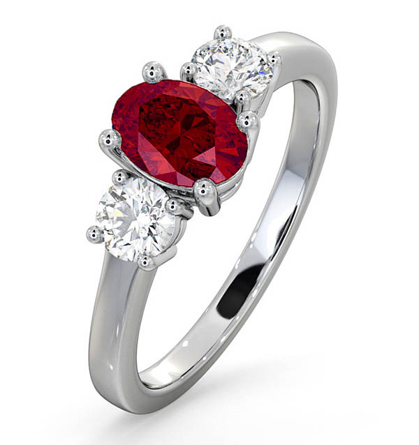 18K White Gold 0.50CT H/SI Diamond and 1.15CT Ruby Ring
