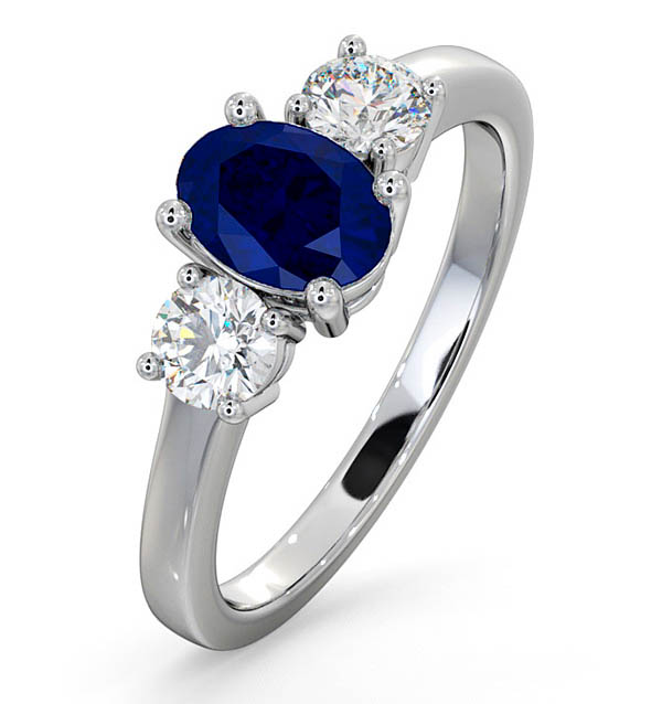 Sapphire 0.80ct And Diamond 0.50ct 18K White Gold Ring