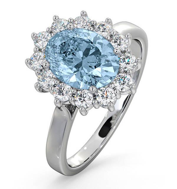 AQUAMARINE 1.70CT AND DIAMOND 1.00CT 18K WHITE GOLD RING
