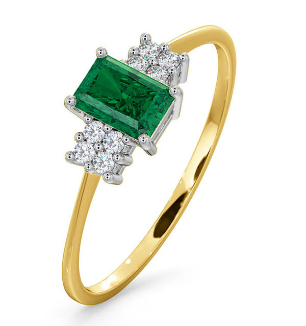 EMERALD 6 X 4MM AND DIAMOND 18K GOLD RING