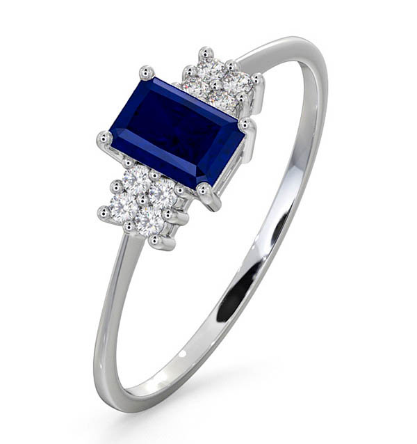SAPPHIRE 6 X 4MM AND DIAMOND 18K WHITE GOLD RING