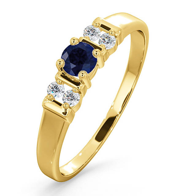 Sapphire 3.75mm And Diamond 9K Gold Ring