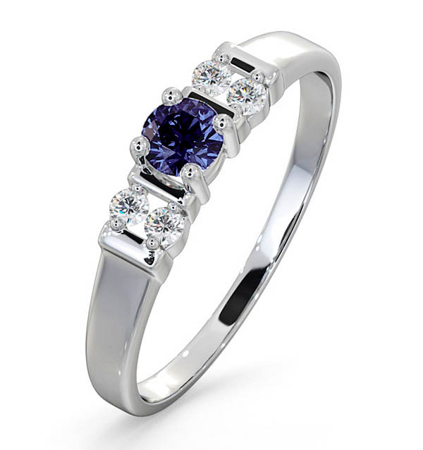 Tanzanite 3.75mm And Diamond 9K White Gold Ring