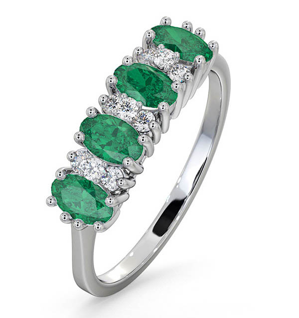 EMERALD 0.94CT AND DIAMOND 9K WHITE GOLD RING