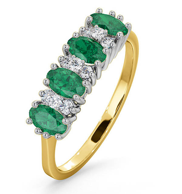 EMERALD 0.94CT AND DIAMOND 9K GOLD RING