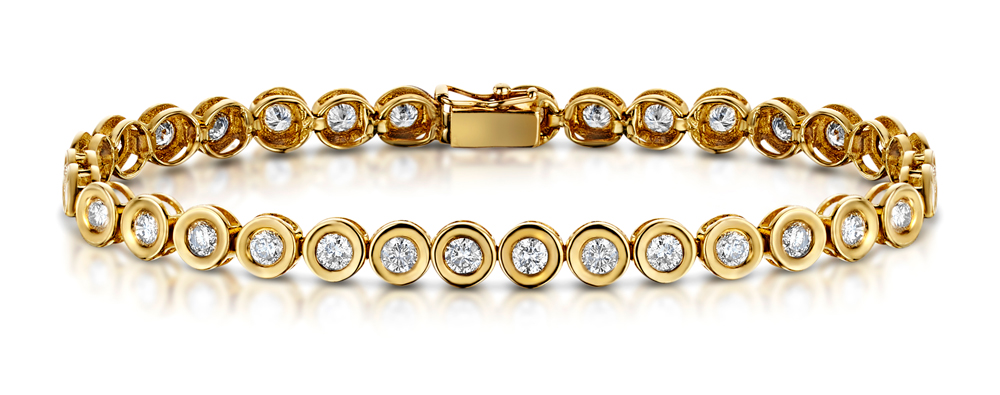 9K GOLD 5.00CT DIAMOND BRACELET - RTC-I3228