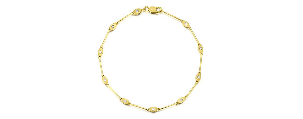 9K GOLD DIAMOND RUBOVER 10 DIAMOND BRACELET