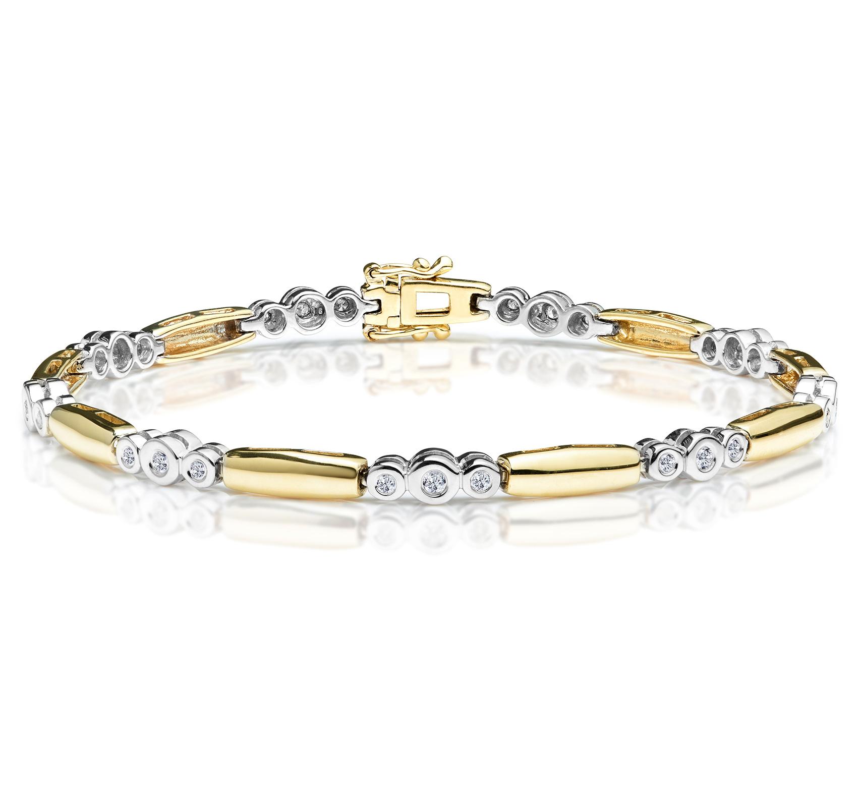 1/4 CARAT DIAMOND RUBOVER BRACELET IN 9K GOLD