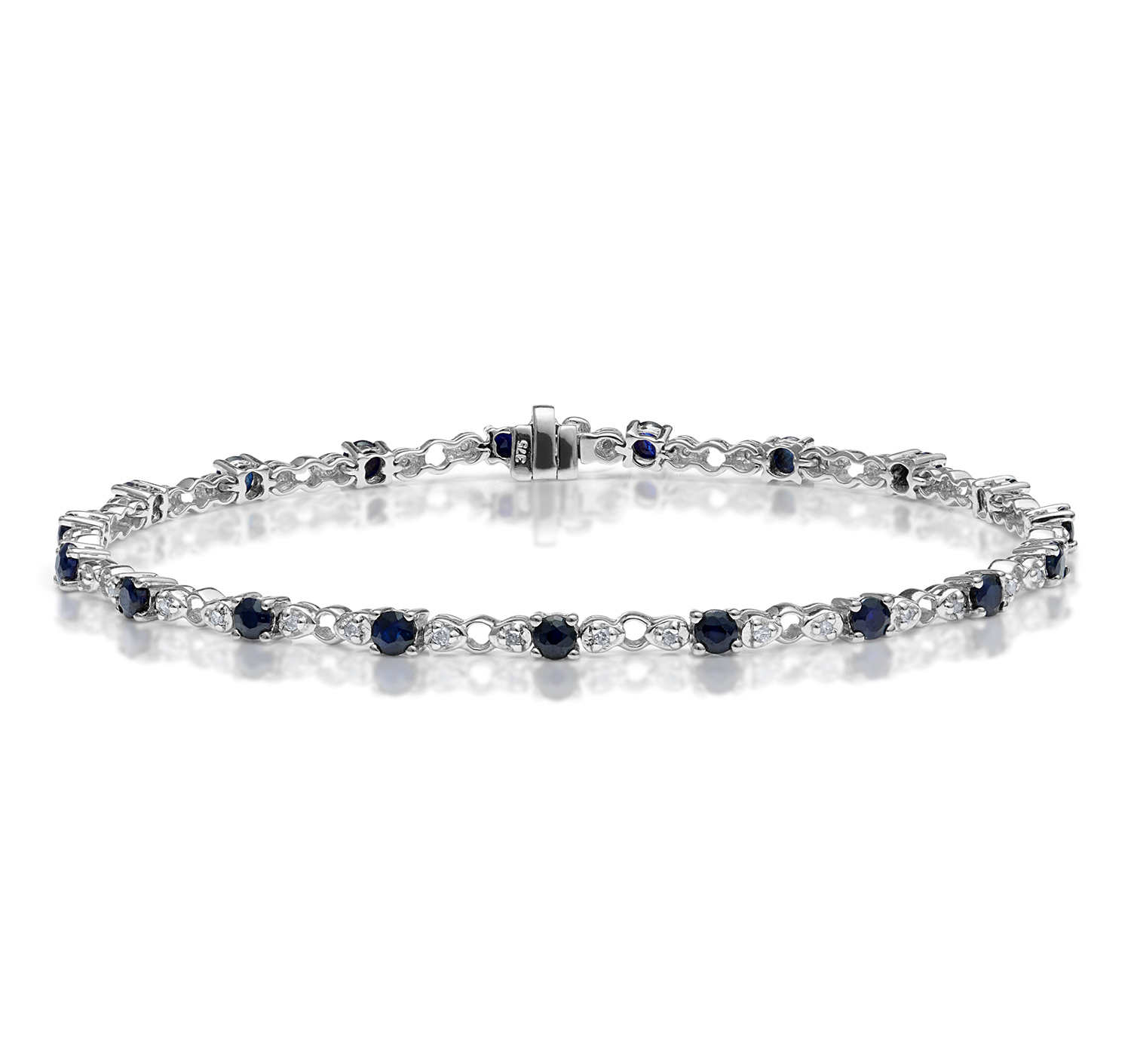 9K WHITE GOLD DIAMOND AND SAPPHIRE CLAW SET LINK BRACELET