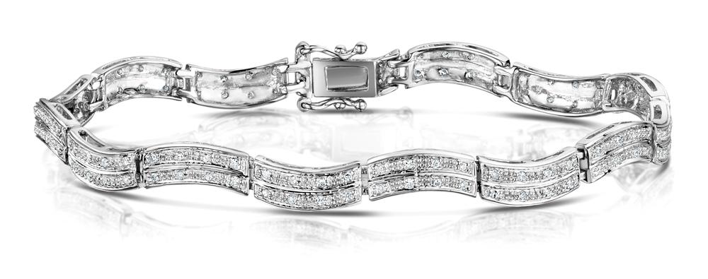 DIAMOND 0.55CT 9K WHITE GOLD PAVE BRACELET - RTC-I3620