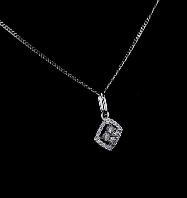 stellato champagne diamond pendant 016ct in 9k white gold