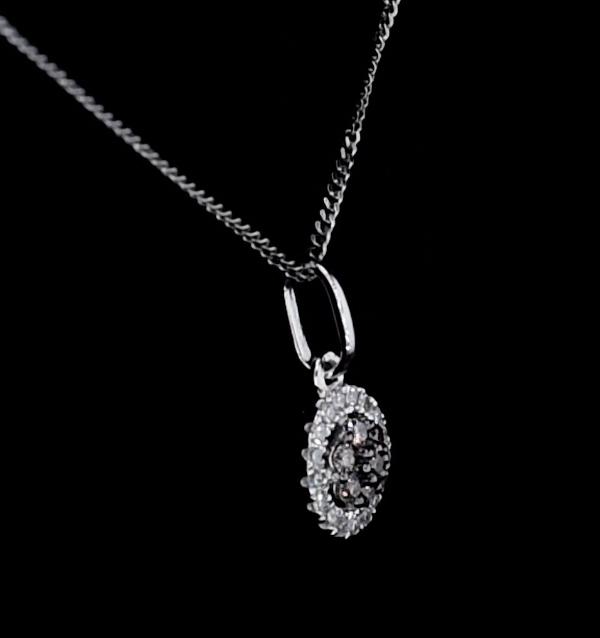 stellato champagne diamond halo pendant 013ct in 9k white