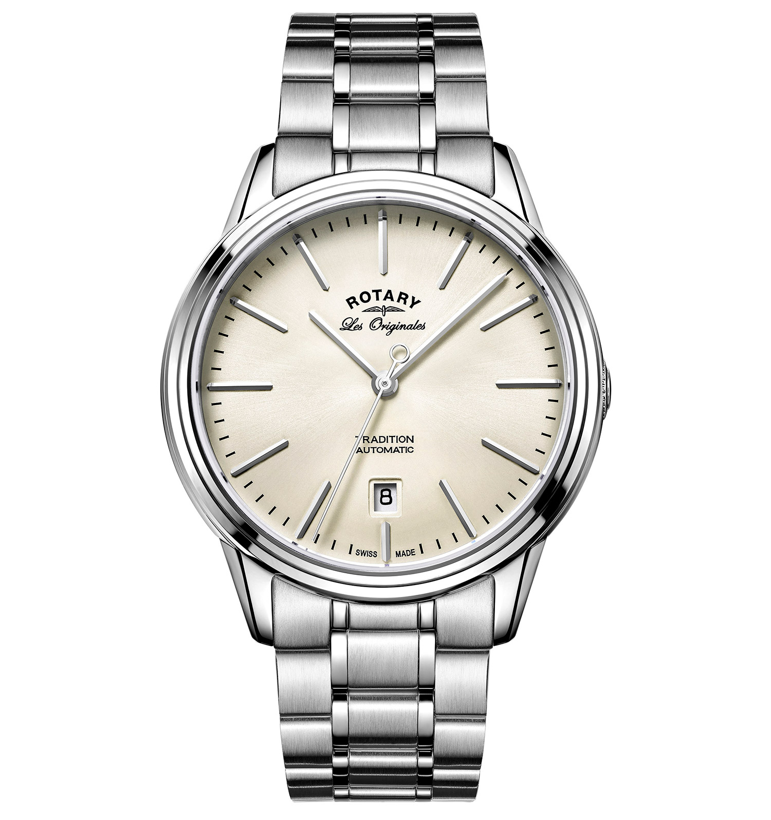 ROTARY LES ORIGINALES TRADITION S STEEL SWISS GENTS AUTOMATIC WATCH
