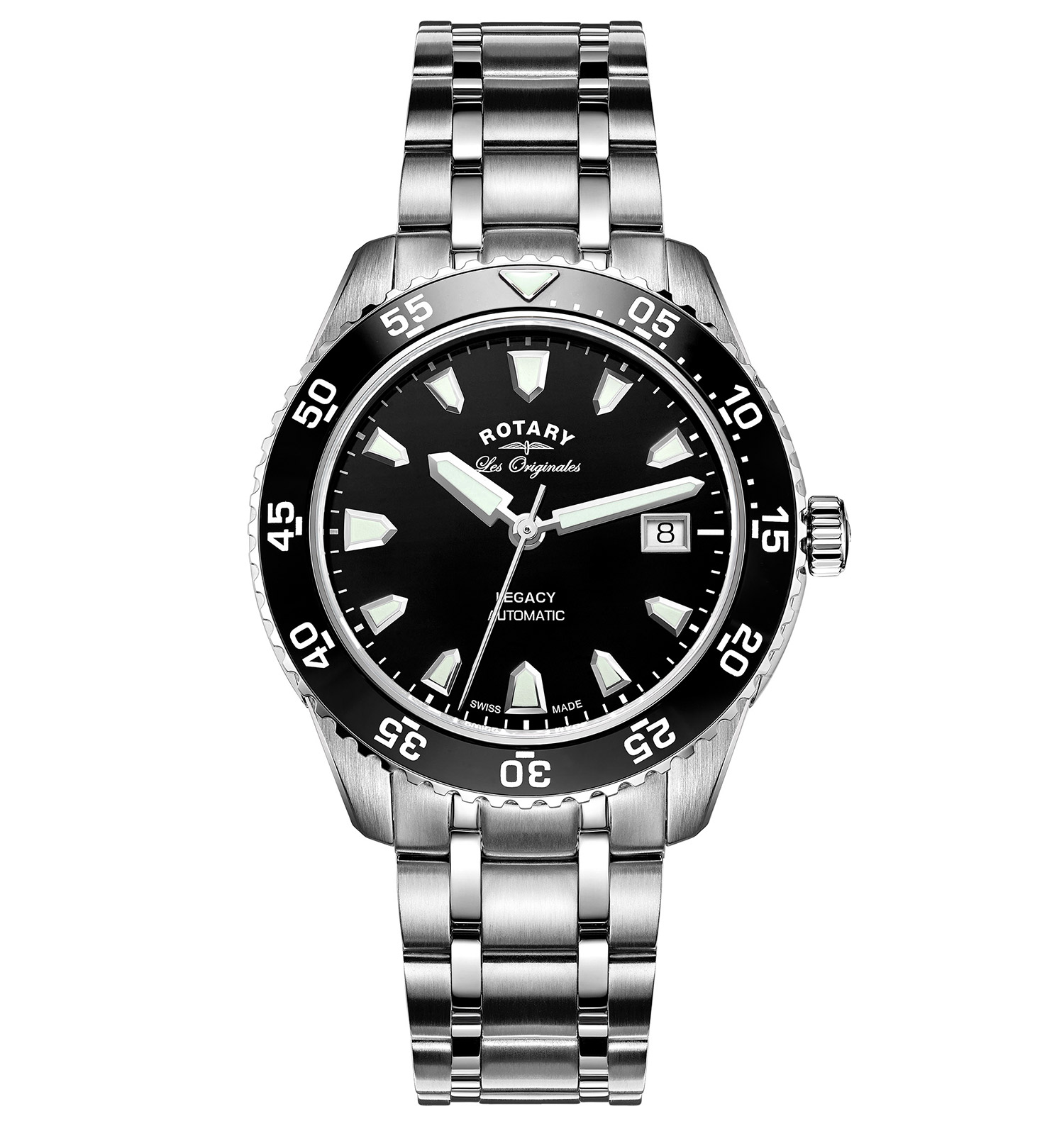 ROTARY LES ORIGINALES LEGACY OCEAN AUTOMATIC BLACK SWISS GENTS WATCH
