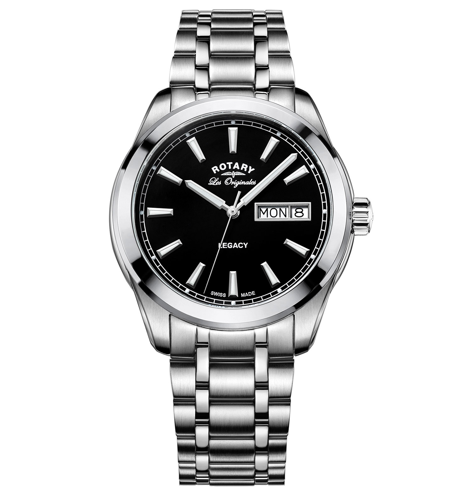 ROTARY LES ORIGINALES LEGACY STAINLESS STEEL SWISS GENTS QUARTZ WATCH