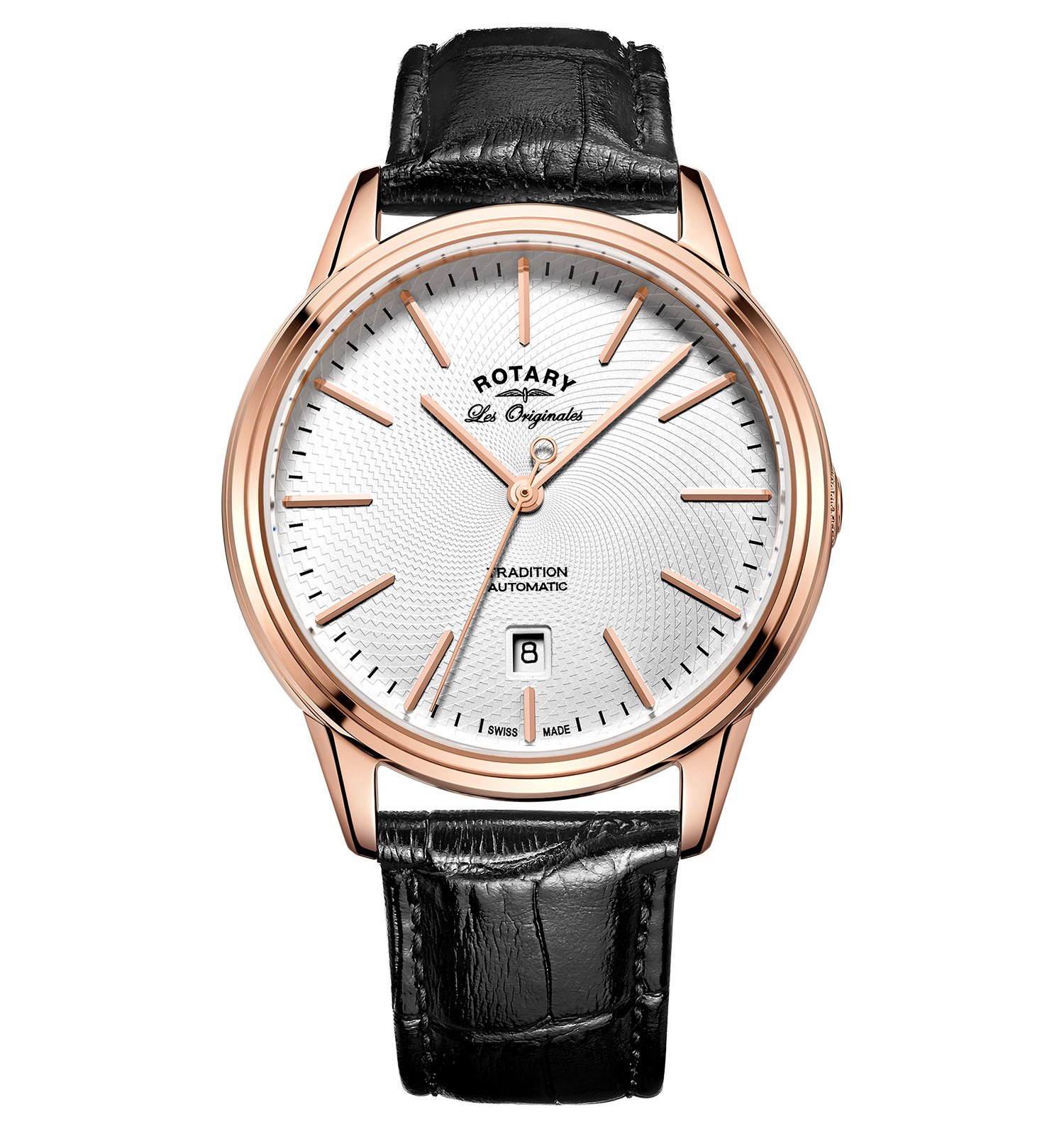 ROTARY LES ORIGINALES TRADITION ROSE GOLD SWISS GENTS AUTOMATIC WATCH