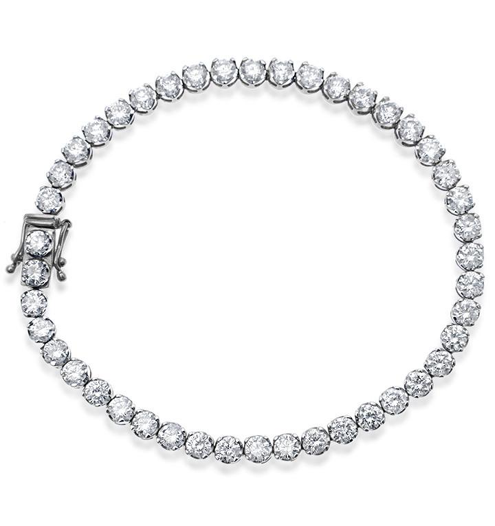 18K WHITE GOLD 6.25CT DIAMOND TENNIS BRACELET