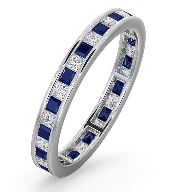 Eternity Ring Lauren Diamonds H/SI and Sapphire 1.20CT -18K White Gold