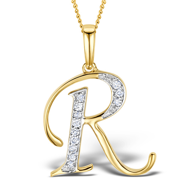 9K Gold Diamond Initial 'R' Pendant 0.05ct