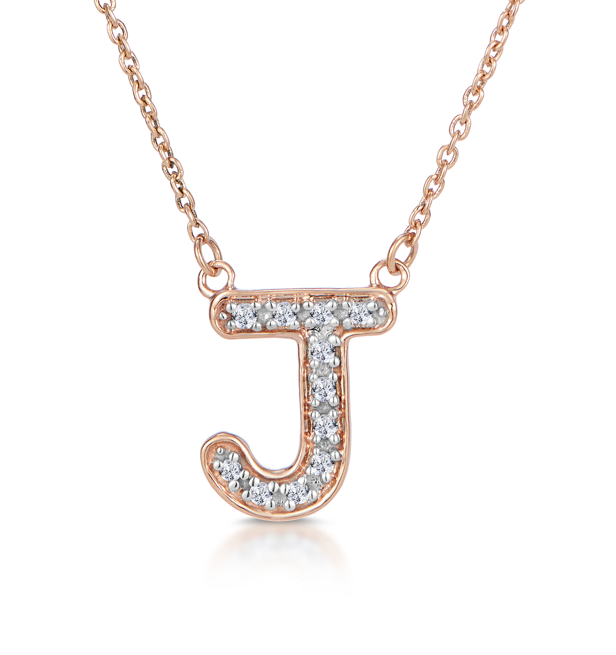 Diamond Encrusted Initial 'J' Necklace Pave Set in 9K Rose Gold