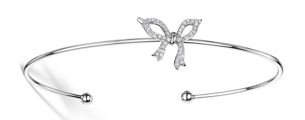DIAMOND BOW BANGLE 0.19CT SET IN 9K WHITE GOLD - L3332