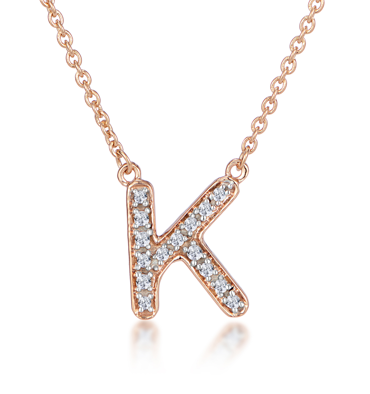 Diamond Encrusted Initial 'K' Necklace Pave Set in 9K Rose Gold