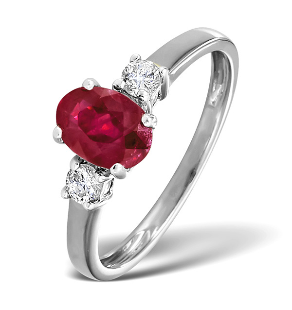18K White Gold Diamond Ruby Ring 7 x 5mm Oval - N4334Y