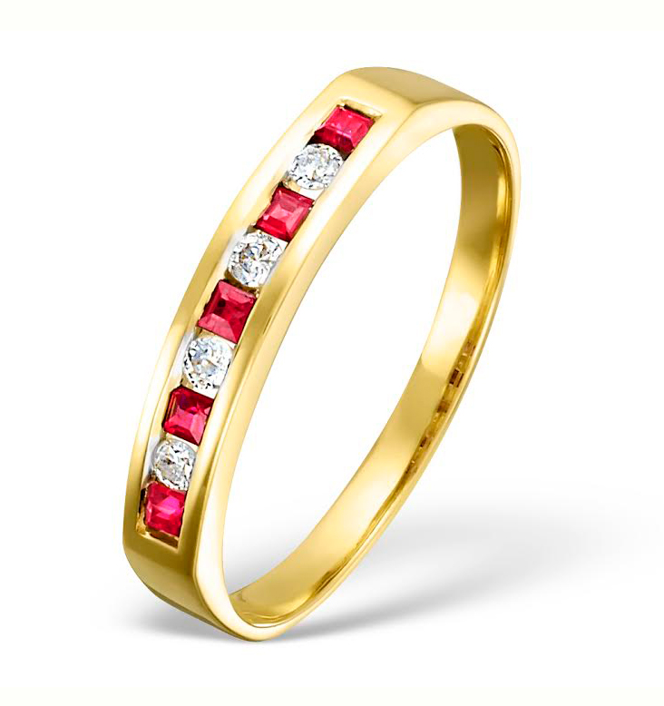 RUBY 0.22CT AND DIAMOND 9K GOLD RING