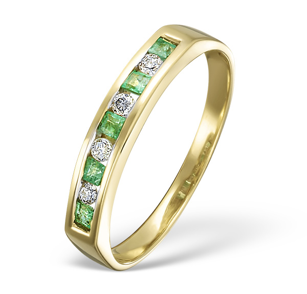 EMERALD 0.15CT AND DIAMOND 18K GOLD RING
