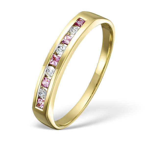 18K GOLD H/SI DIAMOND AND PINK SAPPHIRE RING