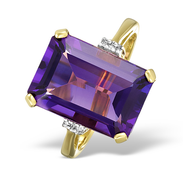 AMETHYST 6.40CT AND DIAMOND 9K GOLD RING