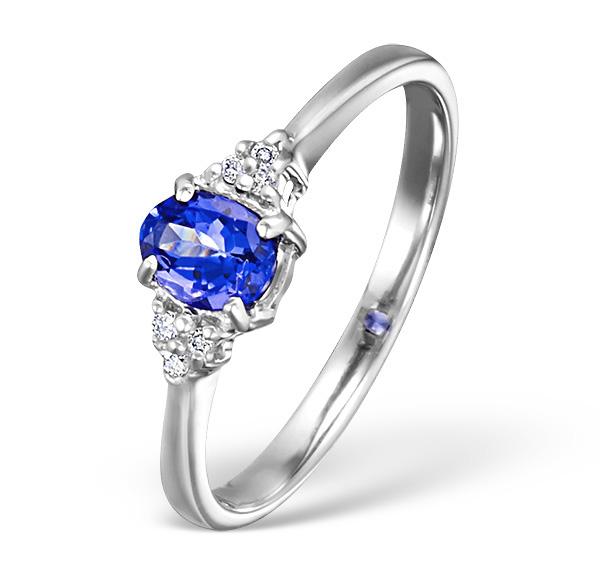 TANZANITE 0.35CT AND DIAMOND 18K WHITE GOLD RING