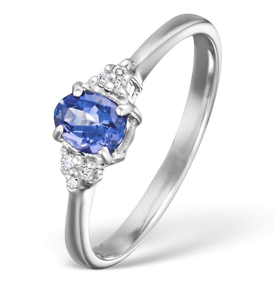 TANZANITE 0.35CT AND DIAMOND 9K WHITE GOLD RING