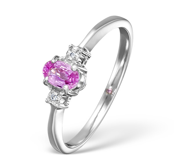PINK SAPPHIRE AND 0.01CT DIAMOND RING 9K WHITE GOLD