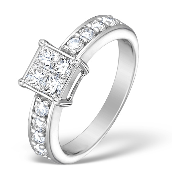 18K White Gold Diamond Cluster Solitaire Ring 0.71ct