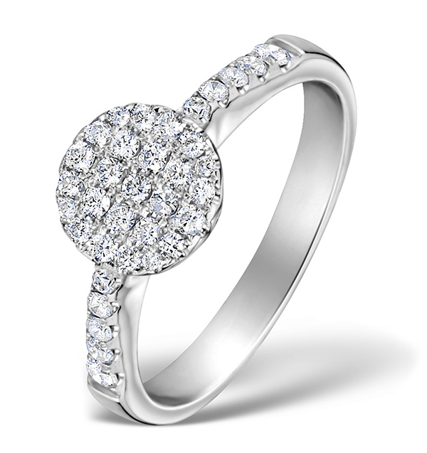 DIAMOND ENCRUSTED CIRCLES 0.75CT RING IN 18K WHITE GOLD