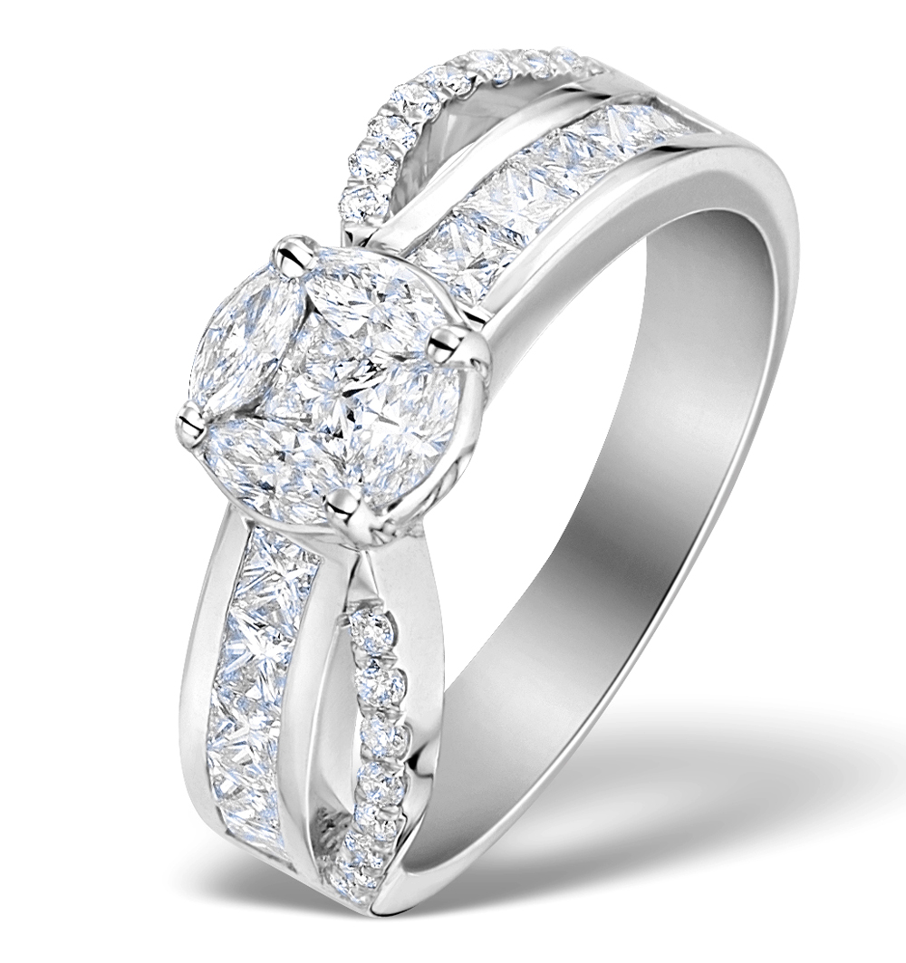 Engagement Ring Galileo 1.50ct Look Diamond in 18K White Gold N4487