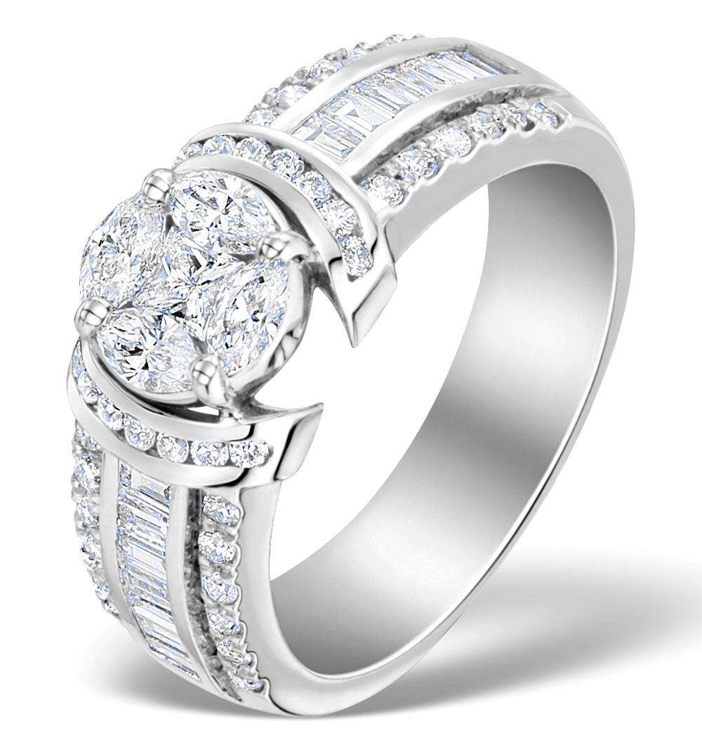 ENGAGEMENT RING GALILEO 1.50CT LOOK SI DIAMONDS IN PLATINUM S3461