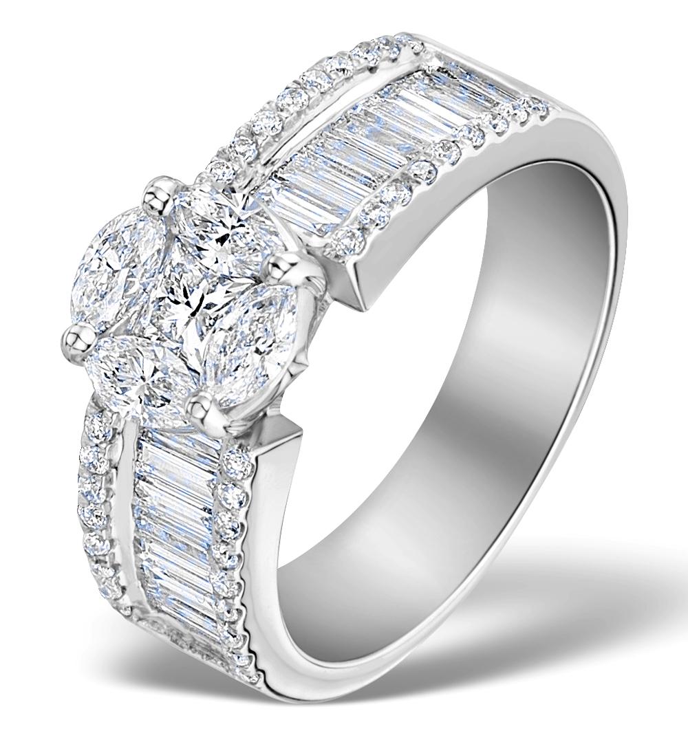 ENGAGEMENT RING GALILEO 2.00CT LOOK H/SI DIAMONDS 18K WHITE GOLD N4481