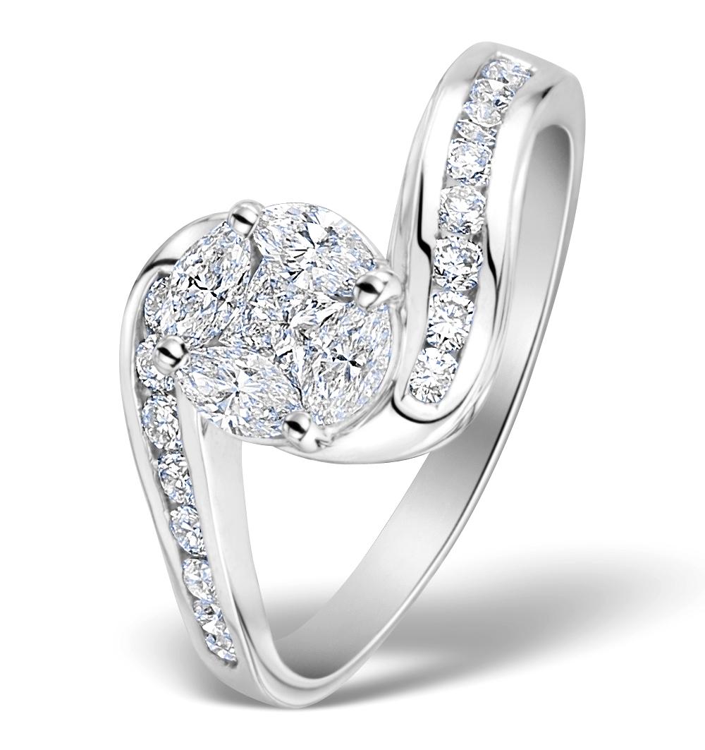 ENGAGEMENT RING GALILEO 1.50CT LOOK DIAMONDS 18K WHITE GOLD N4492