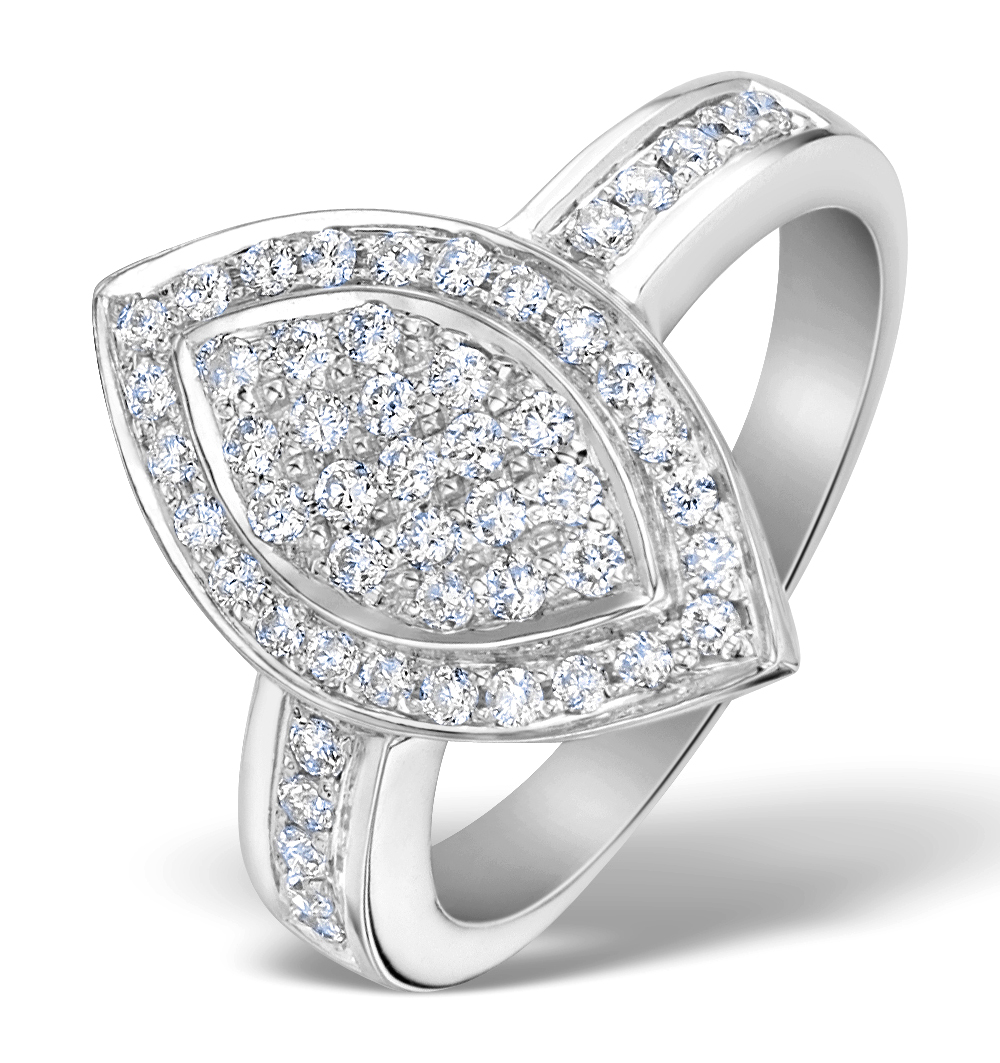 OVAL SHAPED DIAMOND 0.50CT AND PLATINUM PAVE RING