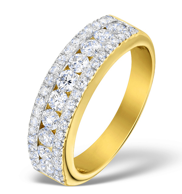 DIAMOND 1.00CT AND 18K GOLD HALF ETERNITY RING - N4495