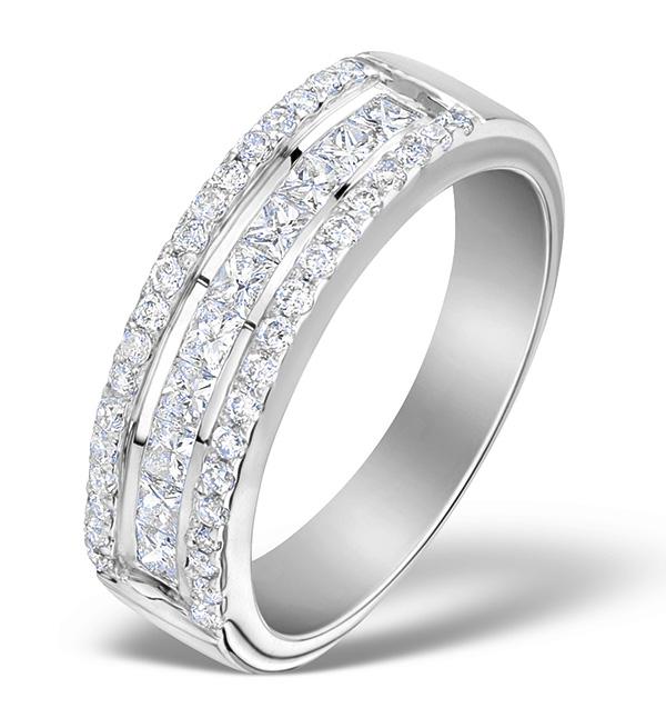 3 ROW DIAMOND 1.00CT AND 18K WHITE GOLD HALF ETERNITY RING