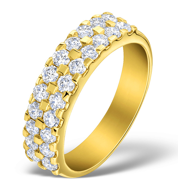 DIAMOND 1.00CT AND 18K GOLD HALF ETERNITY RING - N4497
